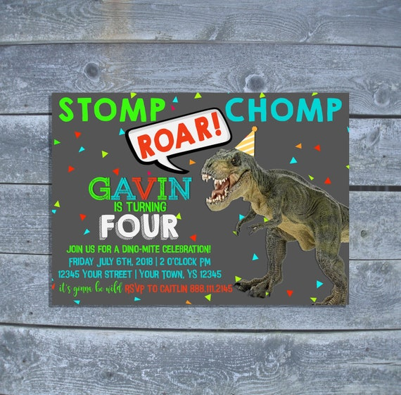 Dinosaur Birthday Party Invitation T Rex