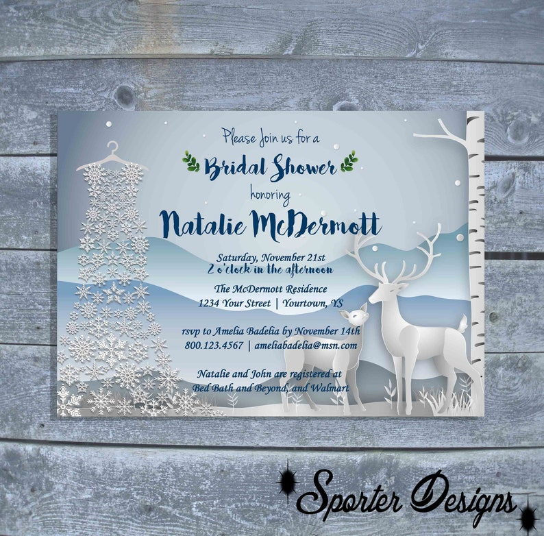 bf1820ac234 Winter themed Bridal Shower Invitation Snowflake Dress
