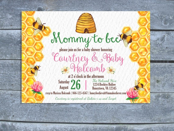 Watercolor Honey Bee Baby Shower Invitation Bumble Bee Baby
