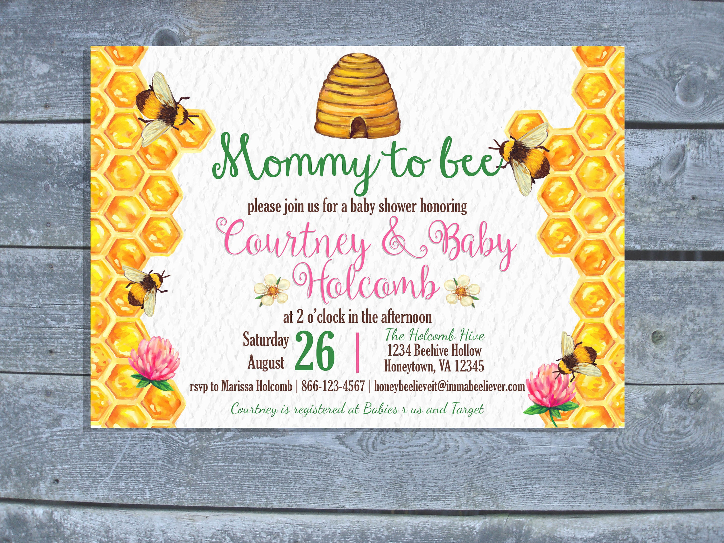 Watercolor honey bee baby shower invitation bumble bee baby etsy zoom filmwisefo
