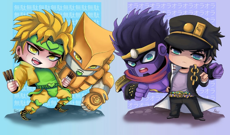 Dio and Jotaro with Stands, Jojo Stickers