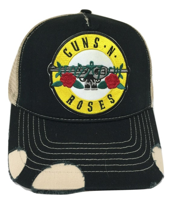 218100e01ce Guns N  Roses Distressed Trucker Hat with plastic Snapback