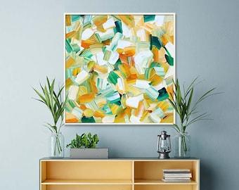 Lemon Grass ORIGINAL Unique Impasto Abstract Palette Knife Modern High Gloss Painting Fine Art by Merv