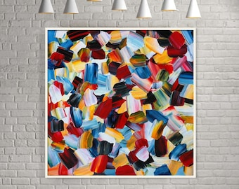 Dramatique ORIGINAL Unique Impasto Abstract Palette Knife Modern High Gloss Painting Fine Art by Merv
