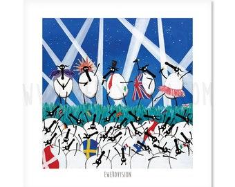 "Ewerovision - 8"" x 8"" Quirky Sheep ART Print"