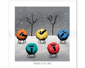 """Rainbow In The Snow - 8"""" x 8"""" Quirky Sheep ART Print"""