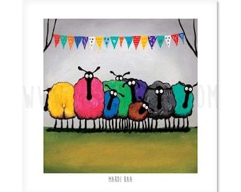 Mardi Baa - Quirky Square Sheep ART Print