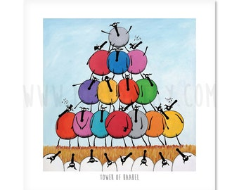 "Tower Of Baabel - 8"" x 8"" Quirky Sheep ART Print"