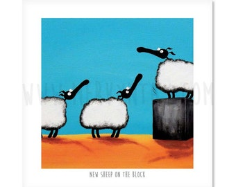 """New Sheep On The Block - 8"""" x 8"""" Quirky Sheep ART Print"""