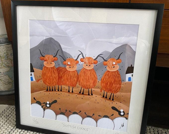 """Scottish Locals"" - 20"" x 20"" FRAMED Limited Edition Print"