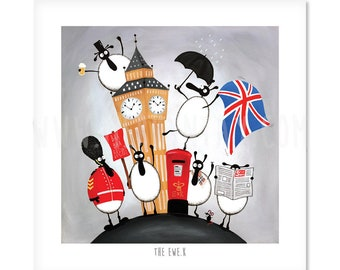 The Ewe.K - Quirky Square Sheep ART Print