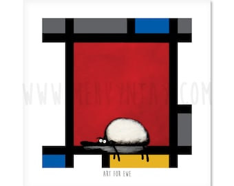 Art For Ewe - Quirky Square Sheep ART Print