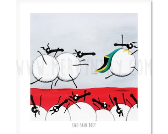 "Ewe-sain Bolt - 8"" x 8"" Quirky Sheep ART Print"