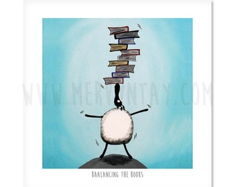"Baalancing The Books - 8"" x 8"" Quirky Sheep ART Print"