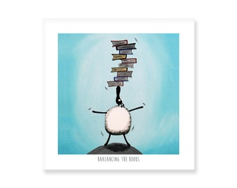 Baalancing The Books - Quirky Square Print