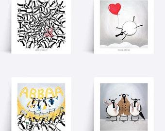 "Set of four 8""x 8"" Sheep Prints"