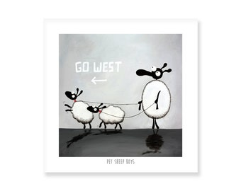 Pet Sheep Boys - Quirky Square Print