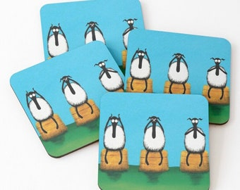 Ewe Hear See Speak No Evil Coaster