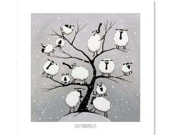 "Cottonopolis - 8"" x 8"" Quirky Sheep ART Print"