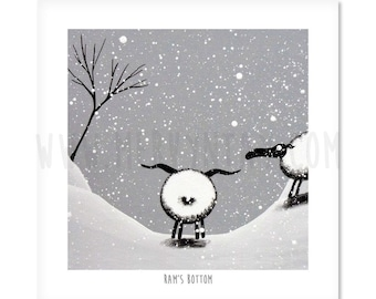 "Ram's Bottom - 8"" x 8"" Quirky Sheep ART Print"