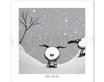 Ram's Bottom - Quirky Square Sheep ART Print