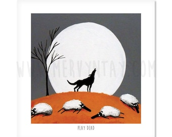 Play Dead - Quirky Square Sheep ART Print
