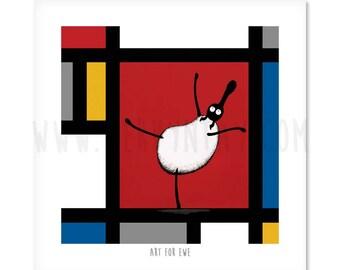 "Art For Ewe - 8"" x 8"" Quirky Sheep ART Print"
