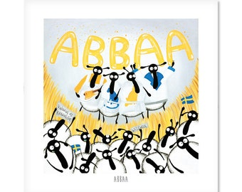 Abbaa - Quirky Square Sheep ART Print