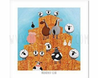 Breakfast Club - Quirky Square Sheep ART Print