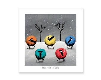 Rainbow In The Snow - Quirky Square Print