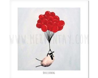 "Baallooning - 8"" x 8"" Quirky Sheep ART Print"