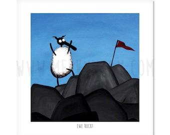 "Ewe Rock! - 8"" x 8"" Quirky Sheep ART Print"