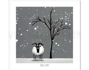 "Chill Spot - 8"" x 8"" Quirky Sheep ART Print"