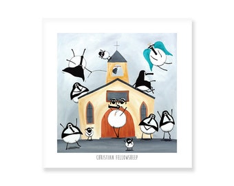 Christian Fellowsheep - Quirky Square Print