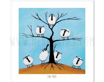"Ewe Tree - 8"" x 8"" Quirky Sheep ART Print"