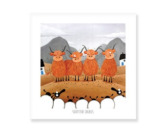 Scottish Locals - Quirky Square Print