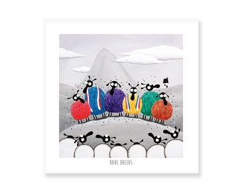 Rare Breeds - Quirky Square Print