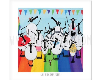 Gay And Baasexual - Quirky Square Sheep ART Print