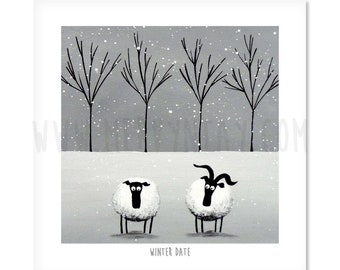 "Winter Date - 8"" x 8"" Quirky Sheep ART Print"