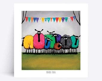 Mardi Baa - Quirky Square Print