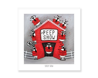 Sheep Show - Quirky Square Print