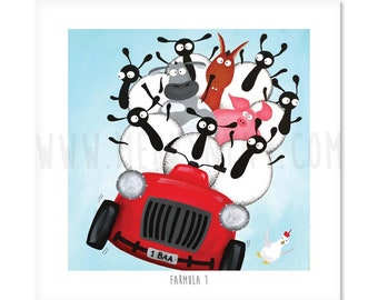 Farmula 1 - Quirky Square Sheep ART Print