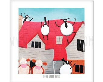 "Home Sheep Home - 8"" x 8"" Quirky Sheep ART Print"