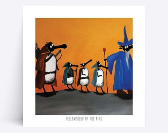 Fellowsheep Of The Ring - Quirky Square Print