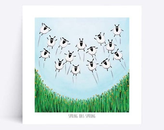 Spring Has Sprung - Quirky Square Print