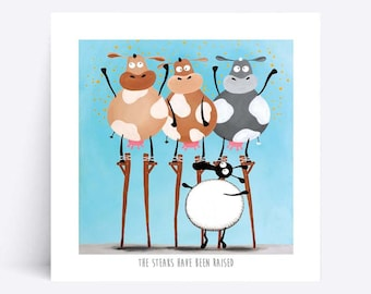 The Steaks Have Been Raised - Quirky Square Print