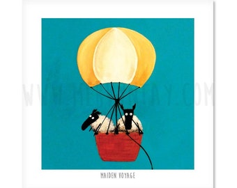 Maiden Voyage - Quirky Square Sheep ART Print - LAST ONE!