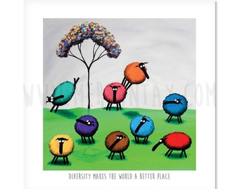 "Diversity Makes The World A Better Place - 8"" x 8"" Quirky Sheep ART Print"