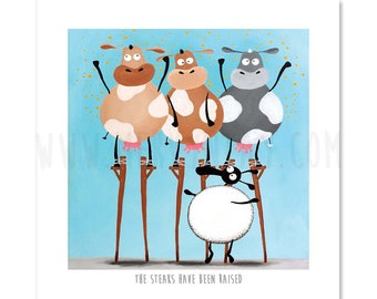 The Steaks Have Been Raised - Quirky Square Sheep ART Print