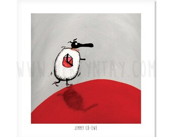 """Jimmmy Ch-ewe - 8"""" x 8"""" Quirky Sheep ART Print"""